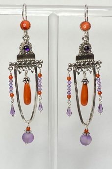 Musi Jewelry earrings: Sterling Silver, Coral, Amethyst