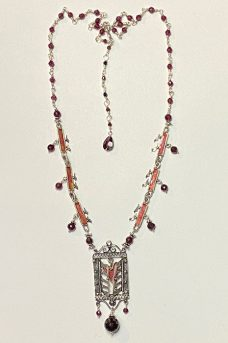 Sterling Silver, Garnets necklace Musi Jewelry