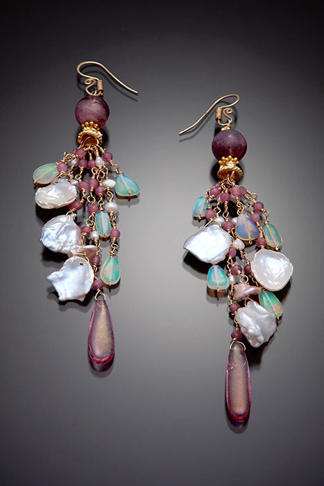 Tourmaline, Pearls and Ethiopian Opals Musi Earrings