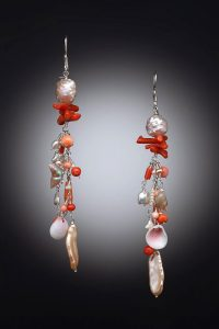 Goldfilled, Coral, Shells Earrings Musi Jewelry