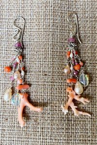 Sterling Silver, Pink Coral, Tourmalines, Ethiopian Opals Musi Jewelry Earrings