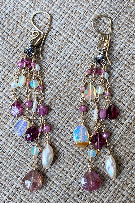 Sterling Silver, Goldfilled, Pink Tourmalines, Pearls, Ethiopian Opals Musi Jewelry Earrings