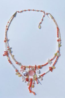 Coral, Tourmaline, Ethiopian Opals, Shells -- Musi Jewelry Necklace