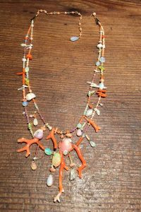 Coral, Tourmaline, Ethiopian Opals, Shells --Musi Jewelry Necklace