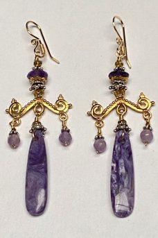 Sterling Silver, Gold Filled, Chreorite, Amethyst earrings