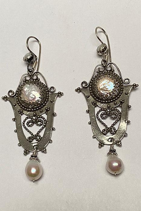 Sterling Silver, Pearls Musi earrings