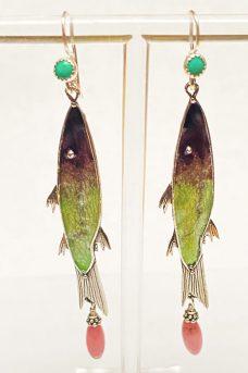 Musi earrings Sterling Silver, Enamel, Rosacrusite, Turquoise