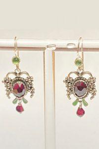 Sterling Silver, Garnets, Peridot Musi Jewelry Earrings