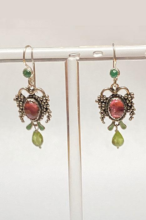 Sterling Silver, Tourmaline, Peridot, Emerald Musi Jewelry Earrings