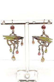 Sterling Silver, Tourmaline, Peridot, Pearls, Enamel Musi Jewelry Earrings