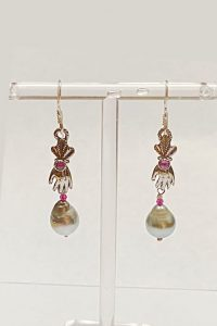 Sterling Silver, Tahitian Pearl, Ruby, Garnet Musi Jewelry Earrings