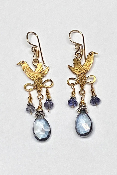 Gold Filled, Iolite earrings