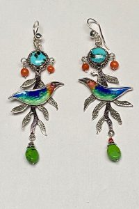 Sterling Silver, Enamel, Turquoise, Coral - Earrings