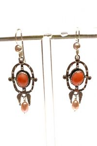Earrings of Sterling Silver, Coral, Pearls