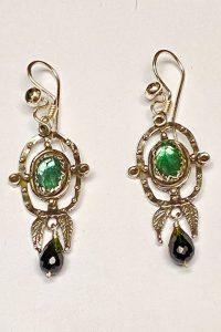 Earrings of Sterling Silver, Green Tourmaline