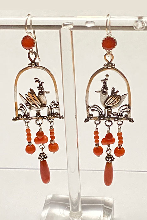 Earrings of Sterling Silver, Coral