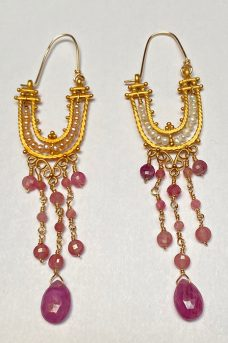 Gold Filled, Tourmaline, Pearls earrings
