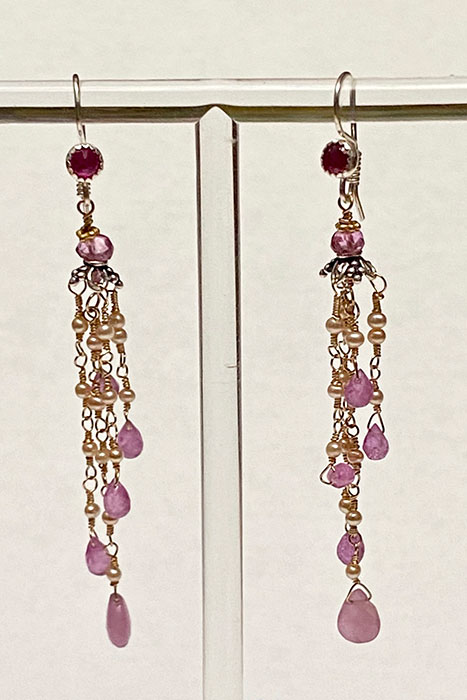 Gold Filled, Sterling Silver, Pink Safire, Pearls, Ruby Earrings