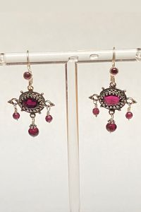 Sterling Silver, Garnets Earrings