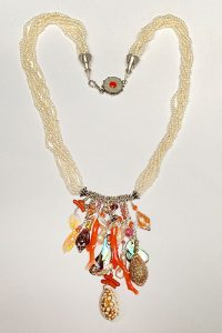 Necklace of Sterling Silver, Pearls, Coral, Ethiopian Opals, Shells