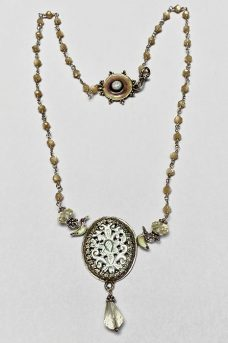 Necklace made of Sterling Silver, Enamel, Mother of Pearl, Lemon Citrine