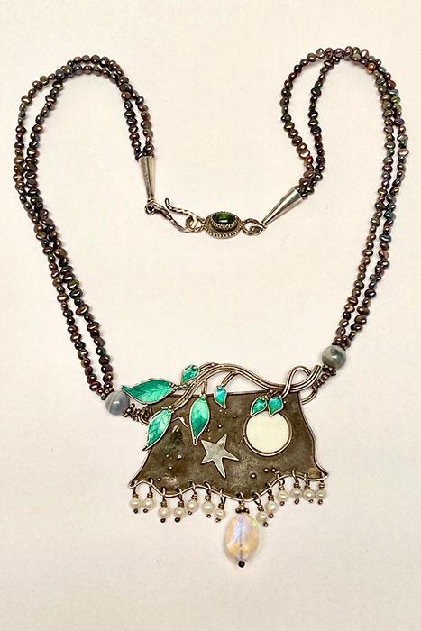 Sterling Silver, Enamel, Piano Key, Pearl, Ethiopian Opal