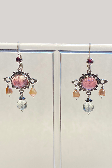 Earrings made from Sterling Silver, Tourmaline, Green Amethyst, Pearls