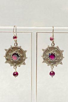 Sterling Silver, Garnet Earrings